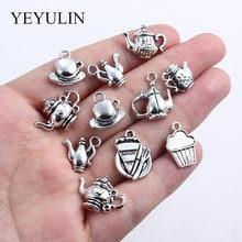 Микс тибетских серебряных кофейных чашек чайников подвесок ювелирных