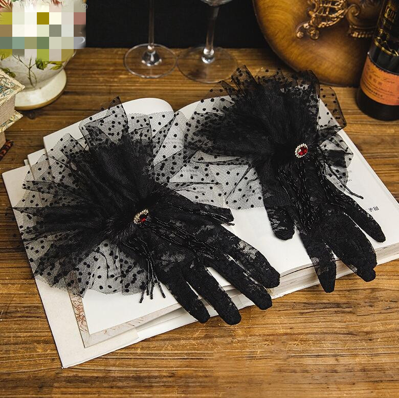 Women's Elegant Dot Print Black Color Mesh Glove Female Spring Summer Vintage Sunscreen Lace Glove R2623