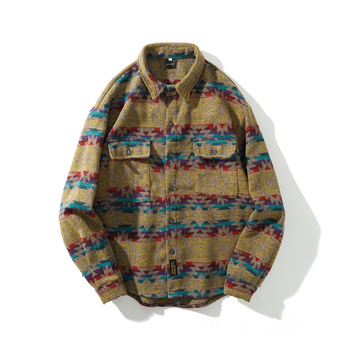 Winter Autumn Thicken Flannel Woolen Shirt Men Streetwear Vintage Folk-custom Pattern Fashion Long Sleeve Casual Hip Hop Shirts