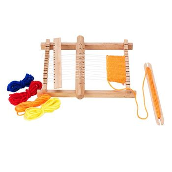 Wooden Children DIY Weaving Loom Hand Sewing Knitting Machine Kids Educational Toys weaving loom dreams kids girl diy knitting wool machine woodlens penguin educational learn toys gift child playset hand crank