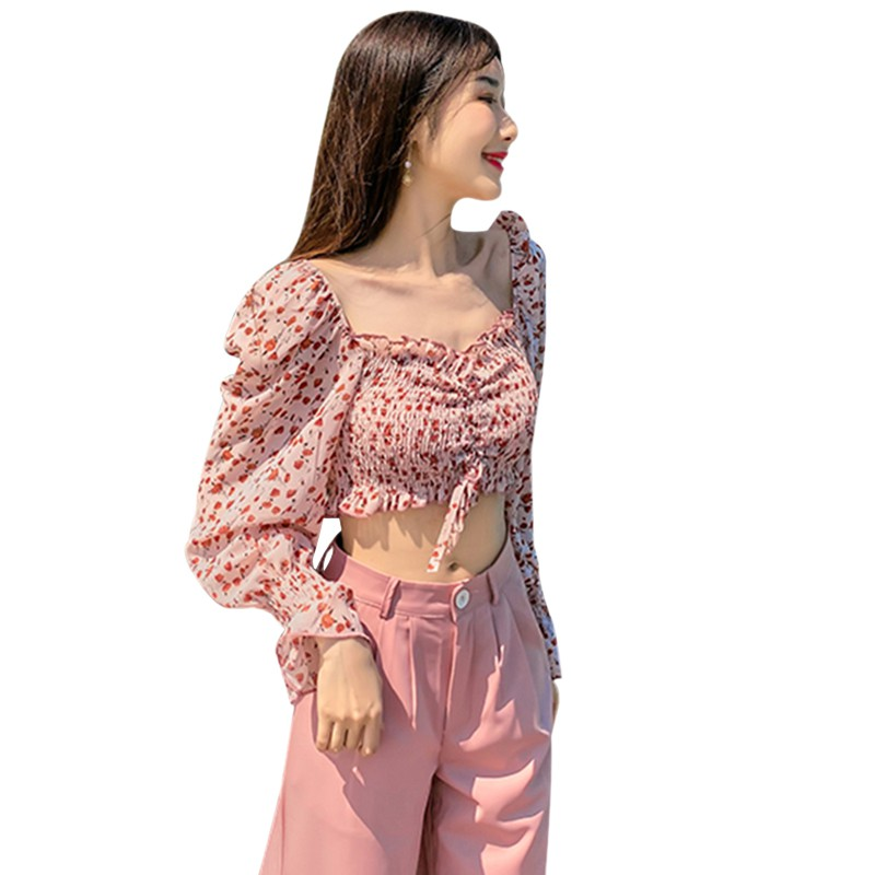 Women's Square Collar Tops Clothes Short Chiffon Shirt Blouses New Sexy Sweet Pleated Small Floral Print Full Summer Streetwear 5