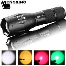 Lampe de poche Portable à 5 émissions, lumières colorées, blanches, jaunes, vertes, rouges, auto défense, lampe de poche tactique LED étanche