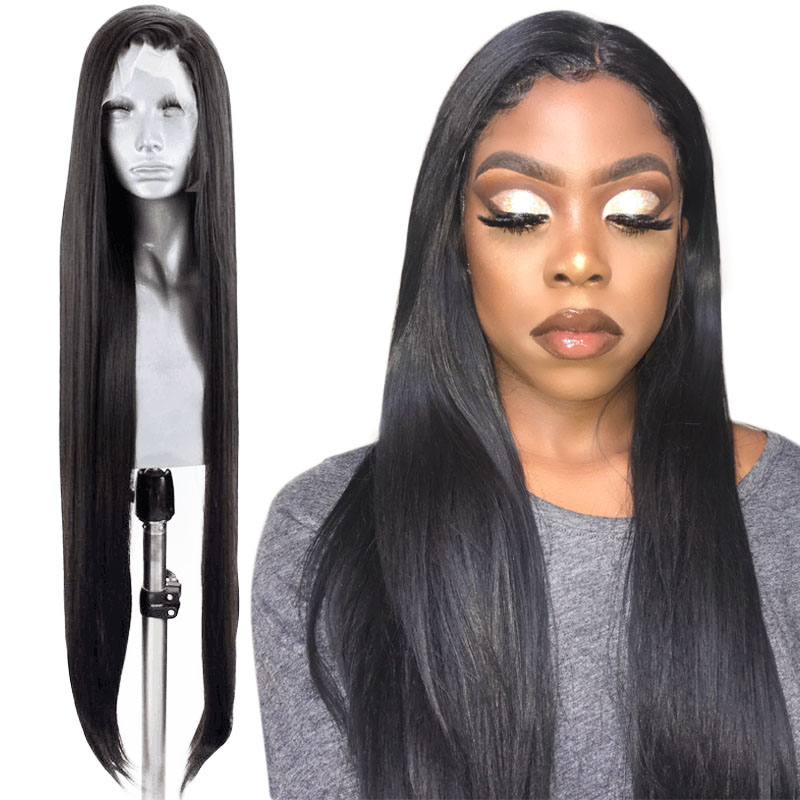 Anogol High Temperature Fiber Glueless Natural Black Long Straight Hair Synthetic Lace Front Hair Wigs With Middle Part