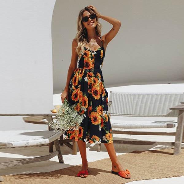 Boho Sexy Floral Dress Summer Vintage Casual Sundress Female Beach Dress Midi Button Backless Polka Dot Striped Women Dress2020  16