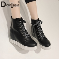 DORATASIA Fashion New Hot Add Fur Autumn Winter Shoes Woman Boots Height Increasing Platform Zip Up Ankle Boots Woman Shoes