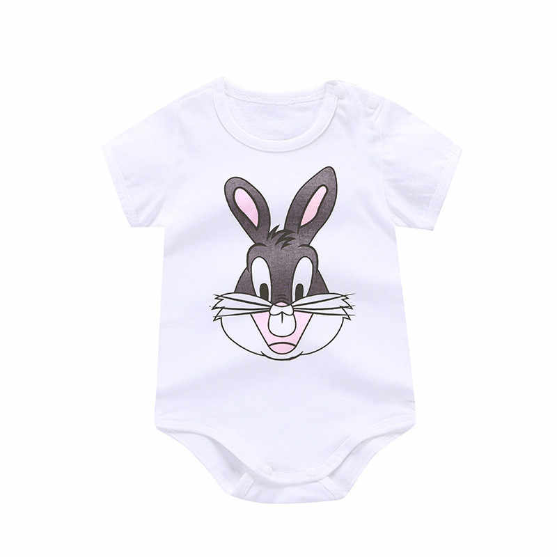 2018 NEW Baby Girl Clothing Lucky Child Cotton Rabbit Print Rompers Set Newborn baby girl summer clothes new born baby boy top