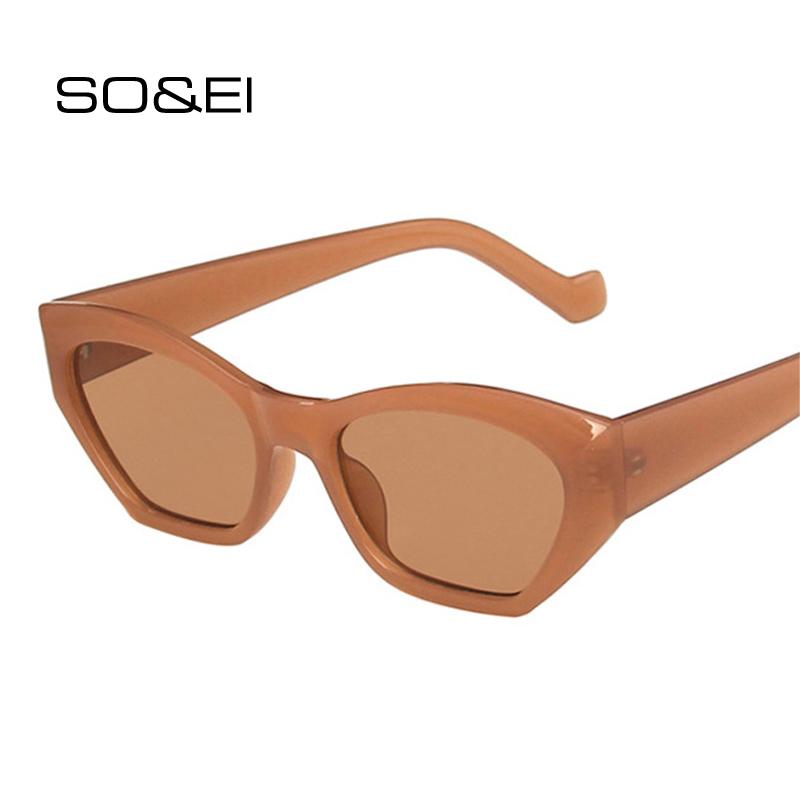 SO&EI Fashion Cat Eye Irregular Sunglasses Women Vintage Clear Candy Color Eyewear Men Trending Polygon Sun Glasses Shades UV400