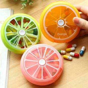 Tygodniowe obrotowe Pill Box Case Splitter do przechowywania tabletu organizator medycyna 7 na pigułki pojemnik do podróży tanie i dobre opinie pcmos Plastic M9073019 Przypadki i rozgałęźniki pigułka 9*2 5 cm Pill Dispenser pink green orange