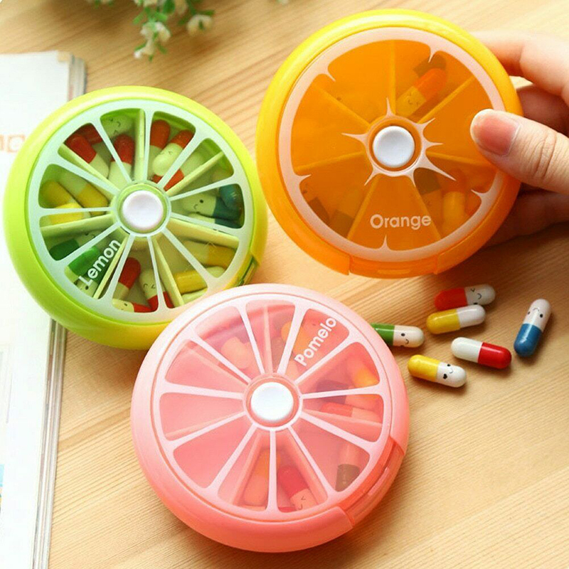 Weekly Rotating Pill Box Case Splitter Tablet Storage Organizer Medicine 7 Day Pill Container For Travel