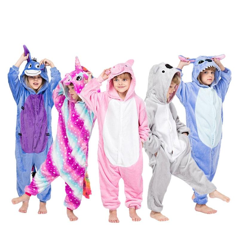 Set kigurumi Kids Pajamas Animal unicorn Panda Stitch Cosplay Anime Halloween Cosplay disfraces Boys Girl Onesie Kids