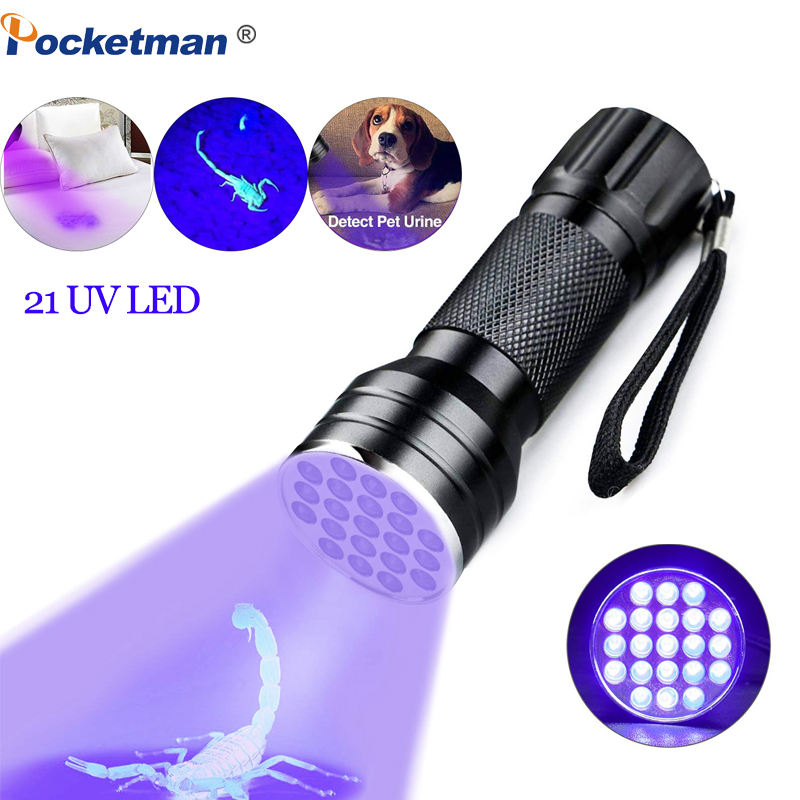 UV Flashlight Black Light UV Lights 21 395nm Torch LED Ultraviolet Linterna Pet Urine Detector For Dog/Cat Urine Portable Light