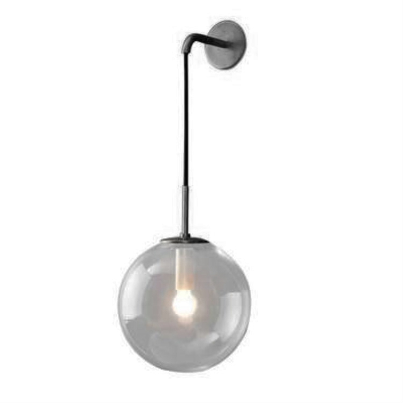 Modern Nordic Retro Glass Wall Lamp Ball Wall Lamp Bedside Lamp Indoor Lamp Black+Smoke Gray Shade