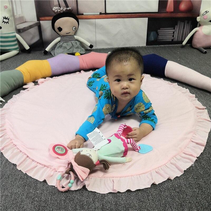 H701a50ad4f364c75939664d16f6882b6b Baby play mat infant playmat Ruond Cotton Crawling Mat kids Game Rugs Children Room Floor Carpet decorative mats Photo Props