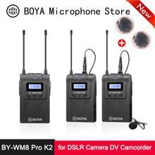 Boya BY-WM8 pro k2 dupla sem fio microfone de lapela 48 canais microfone condensador para smartphone câmera slr dv filmadora entrevista