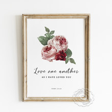 Love One Another Bible Verse Prints Poster, Christian Wedding Gift, Scripture Watercolour Flower Art Dsign Decorative Painting