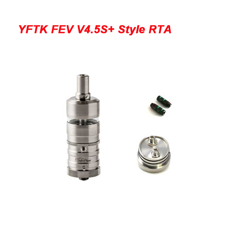 YFTK Flash E-Vapor V4.5S+ Style RTA Rebuildable Tank Vape Atomizer - Silver, 316 Stainless Steel + Glass, 4.5ml, 23mm Diameter