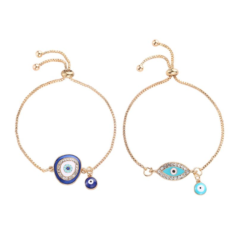 US $0.61 31% OFF|Turkish Lucky Blue Crystal Evil Eye Bracelets Handmade Gold Chains Lucky Jewelry 634C-in Chain & Link Bracelets from Jewelry & Accessories on AliExpress