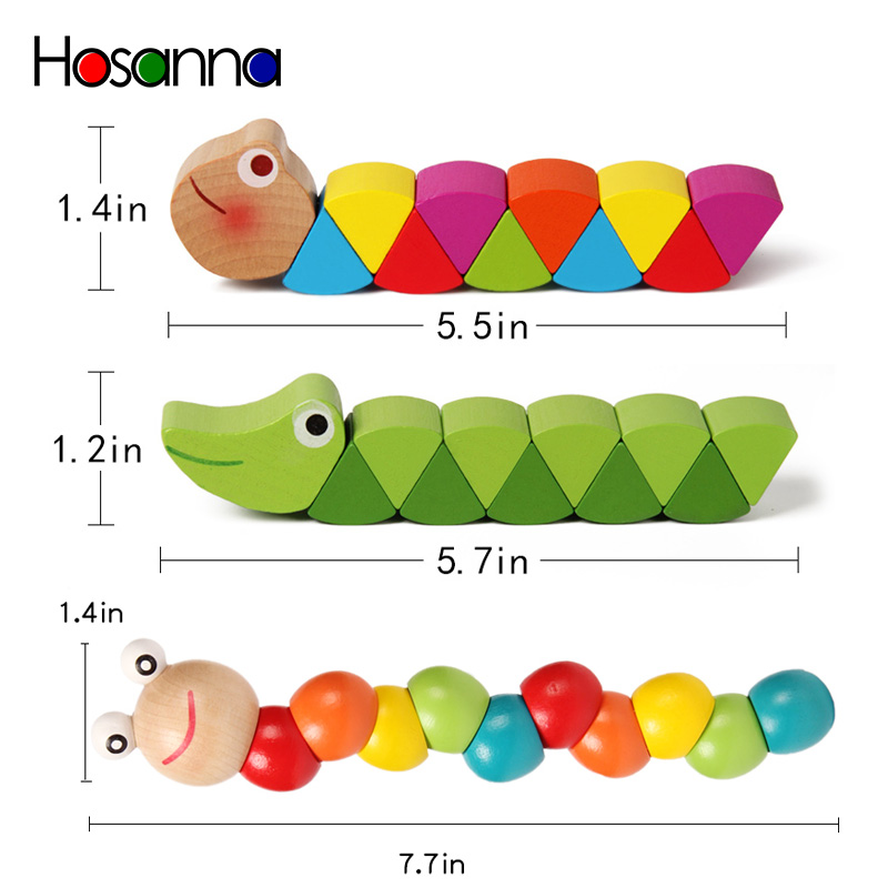Colorful Wooden Worm Puzzles Kids Learning Educational Didactic Baby Development Toys Fingers Game for Children Montessori Gift 5