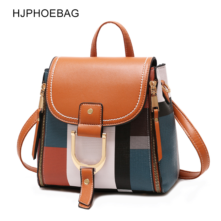 HJPHOEBAG Fashion Women PU Leather Backpacks Female School Bags For Teenager Girls Travel Shoulder Bags Mochila YC255