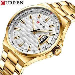 Image 2 - Man Brand Luxury Watch Gold White Top Brand CURREN Watches Stainless Steel Quartz Wristwatch Auto Date Clock Male Relogio