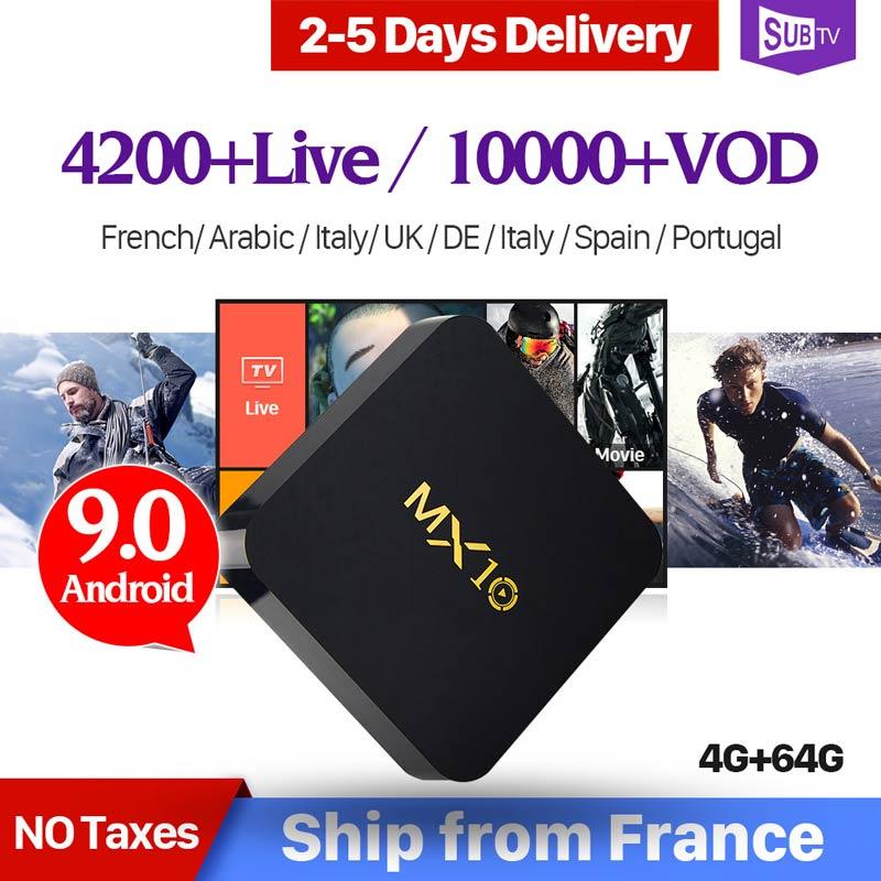 IPTV France Box MX10 Android 9.0 RK3328 1 an QHDTV IUDTV sous-tv Code IPTV espagne Italia néerlandais UK belgique français arabe IPTV Box