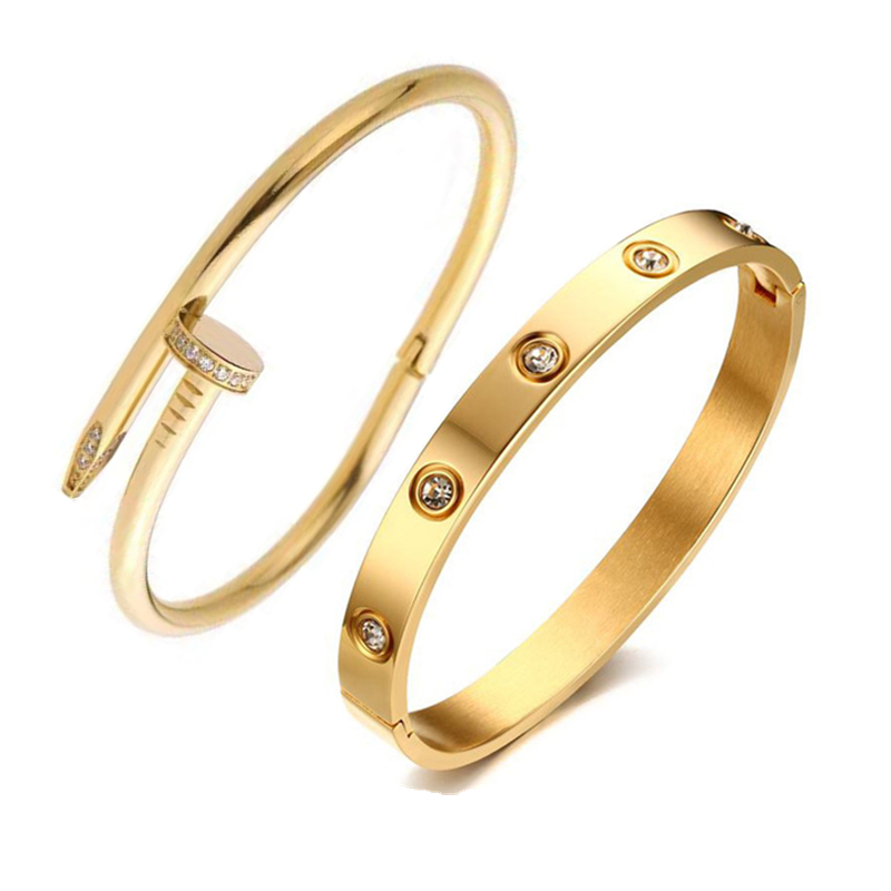 Image 4 - Mavis Hare Crystal nail love & Crystal Stainless Steel Cuff Bangle Set high quality Card buckle bracelet bangle for Woman-in Bangles from Jewelry & Accessories
