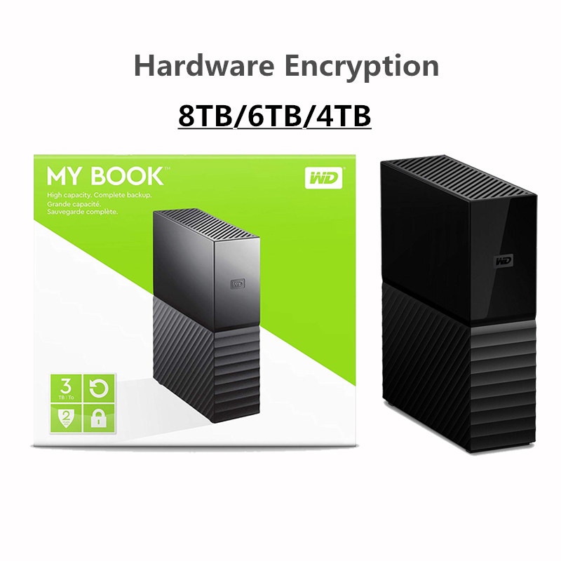 Original Western Digital My Book 8TB 6TB 4TB 3.5' Desktop External Hard Drive WD HDD USB 3.0/256-bit AES Hardware Encryption