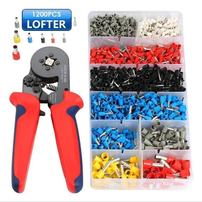 0.08-10mm Tubular Crimping Pliers Tools Set 1200pcs Terminal Crimping Tools Mini Electrical Pliers HSC8 Precision Clamp Set