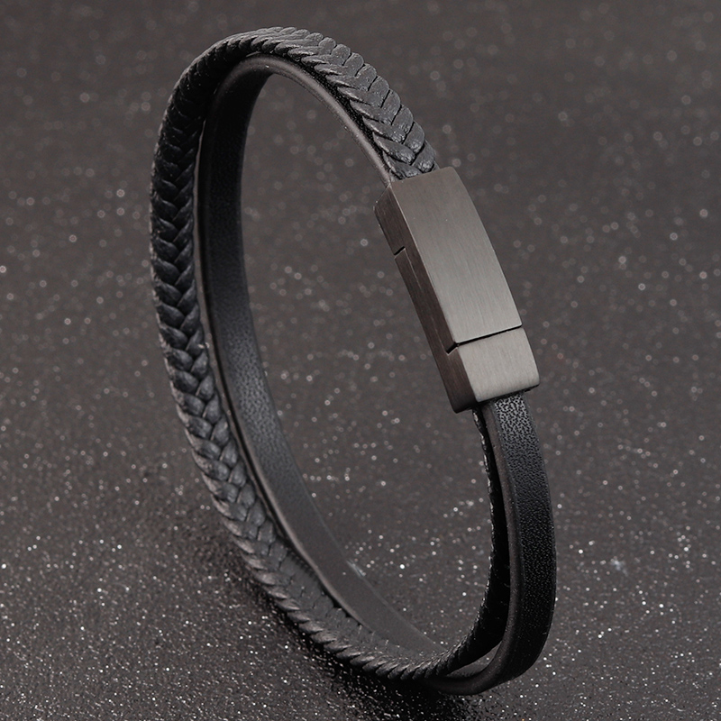 2020 Special Style Gold With Black Combination Stainless Steel Button&Black Brown Men's Leather Bracelet