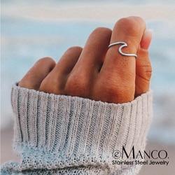 EManco mode conception Simple vague de mer anneaux océan acier inoxydable or argent couleur doigt bijoux anneaux pour femmes surfeur cadeau