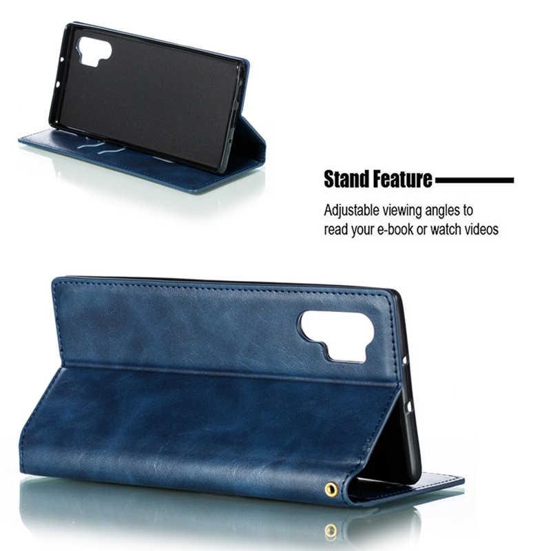 حقيبة لهاتف سامسونج جالاكسي نوت 10 9 8 S10 S9 S8 Plus S10E 5G S7 Edge فاخر جلد قوي المغناطيسي محفظة قلابة حامل بطاقة الغلاف