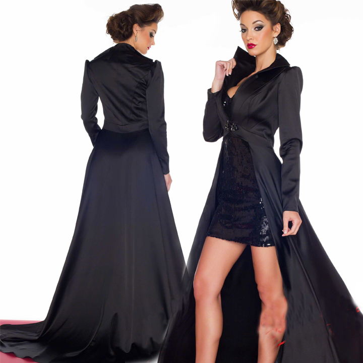Vestido 2016 New Fashion Short Sheath Black Sequin Prom Dresses With Long Sleeves Jacket Long Tail Cloak Winter Evening Dress