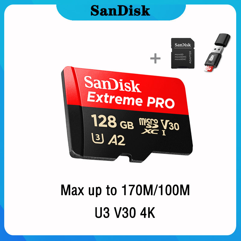 SanDisk Extreme Pro Micro SD Card 128GB 32GB 64GB 256GB 400GB U3 4K Memory Card 32 64 128 Gb Flash Card SD/TF MicroSD For Phone