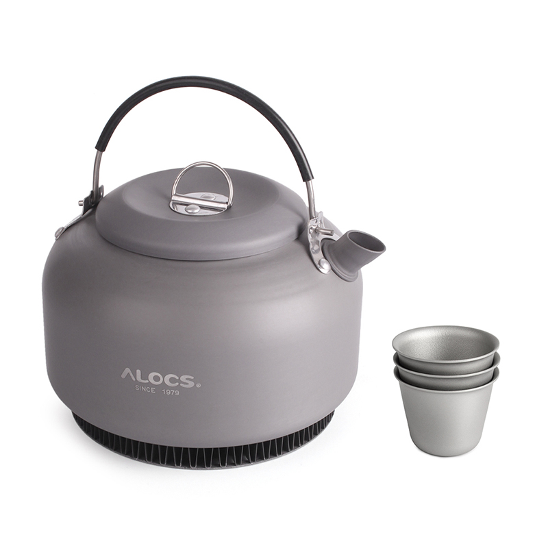 1.4L Aluminum Alloy Kettle Camping Water Teapot Outdoor Coffee Pot Portable Cookware With Mesh Bag And 3 Titanium Cups