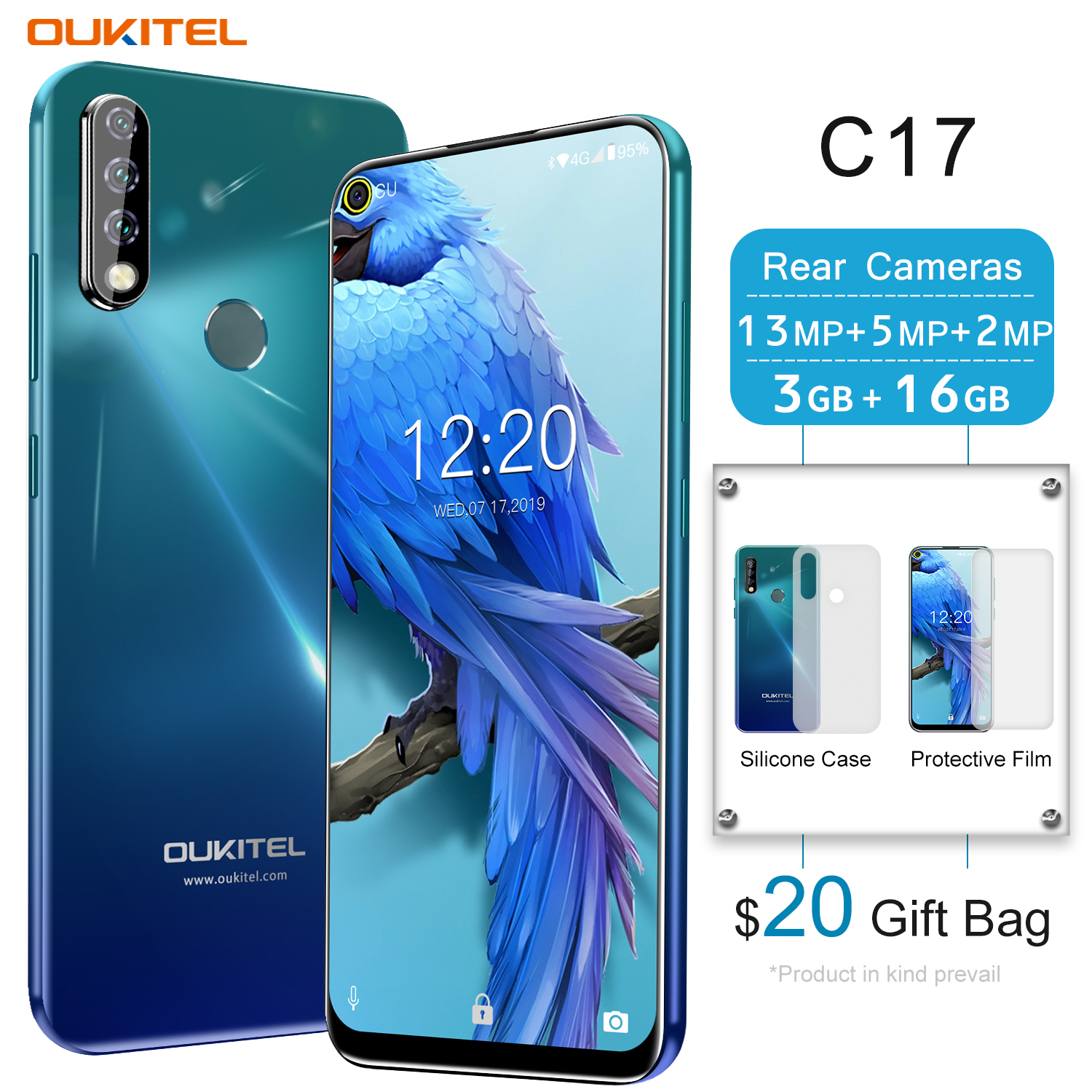 2019 Original OUKITEL C17 Smartphone Face ID 6.35''FHD 3GB RAM 16GB ROM Android 9.0 MTK6763 Octa Core 13MP 4G LTE Mobile Phone