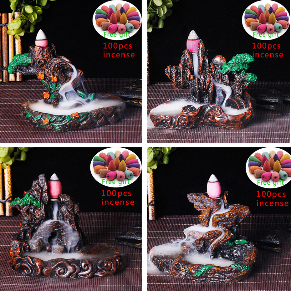 Creative Reflux Incense Holder Ceramic Backflow Waterfall Smoke Incense Burner Home Decor Teahouse Censer100/50/10pcs