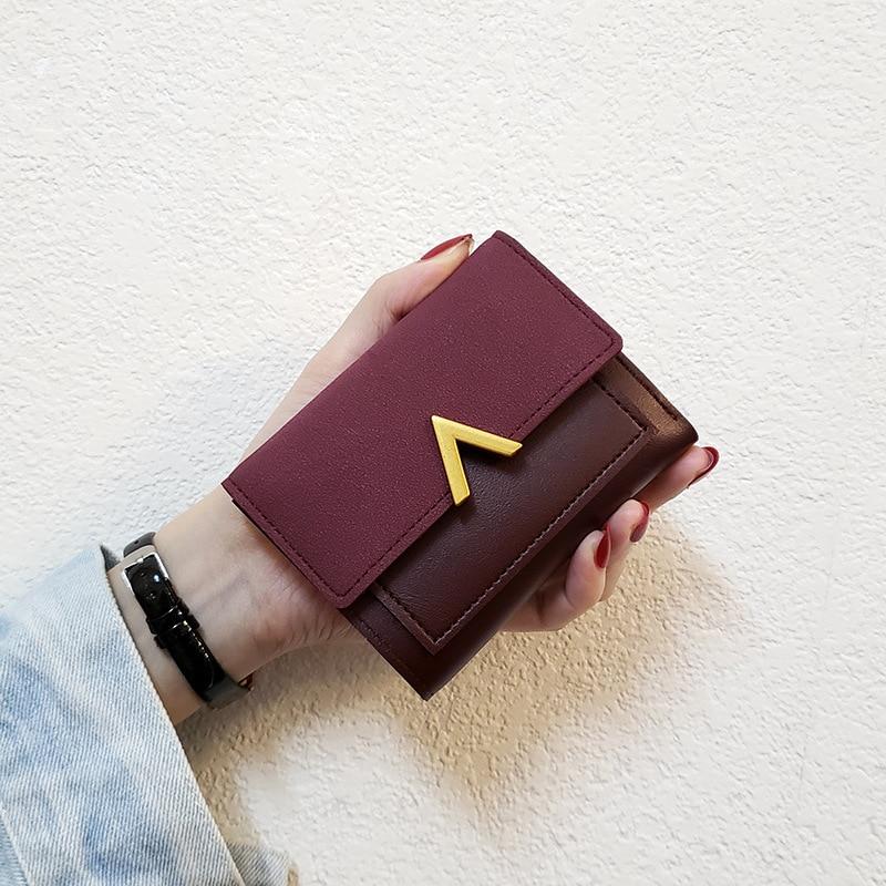 Portefeuille en cuir mat pour femmes, petit porte-monnaie en cuir PU à lettres courtes, solide, en Patchwork, Mini loquet, 2020, sacs à monnaie pour femmes, portefeuille