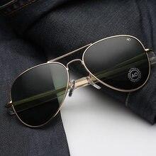 Vintage aviação óculos de sol homens 2021 alta qualidade exército americano militar óptica ao óculos de sol feminino óculos de sol masculino
