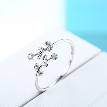 Fancy Leaf Branch Diamond 18K Genuine Real True Solid Gold Rings Bands for Women Girl Elegant Upscale Office Jewelry Gift Party 3