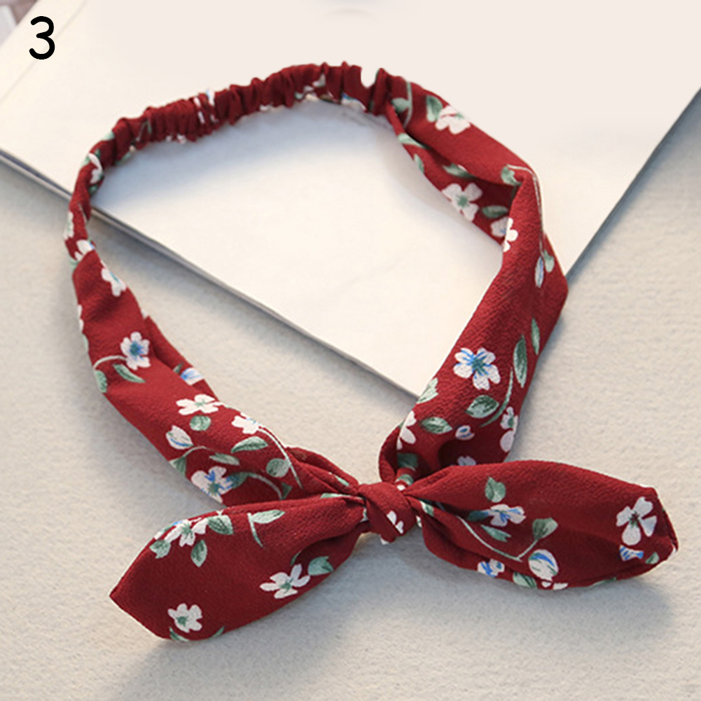 Retro Rabbit Ear Printing Headband Bow Knot Cute Lattice Hair Band Headwrap Fashion Elegant Scrunchies Girls Hair Accessories