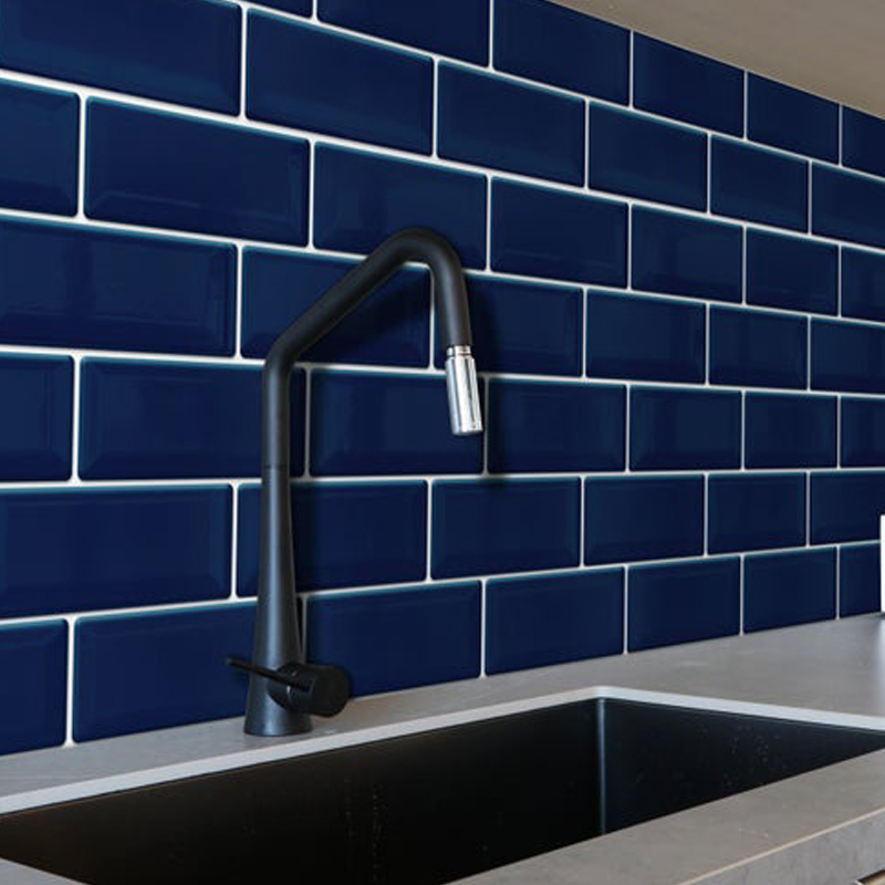 blue subway wall sticker for kitchen backsplashes tiles peel and stick wall tile mosaic wall stick easy clean