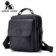 купить LASOSHIZI Brand Genuine Leather Business Top-Handle Handbag Men's Crossbody Shoulder Bags Men Cowhide Messenger Bag Ipad Pack дешево