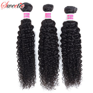 Image 3 - Sweetie Indian Hair Bundles with Closure Afo Kinky Curly Human Hair Weave Bundle 3 Bundles with Lace Closure Non remy