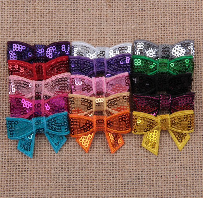 Yundfly 10pcs Chic New 4cm Mini Glitter Sequin Bows DIY Hair Ribbon For Sewing Craft Headwear Hair Accessories