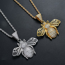 Hip Hop AAA CZ Zircon Paved Bling Iced Out Little Bee Animal Pendants Necklace for Men Rapper Jewelry Gold Silver(China)
