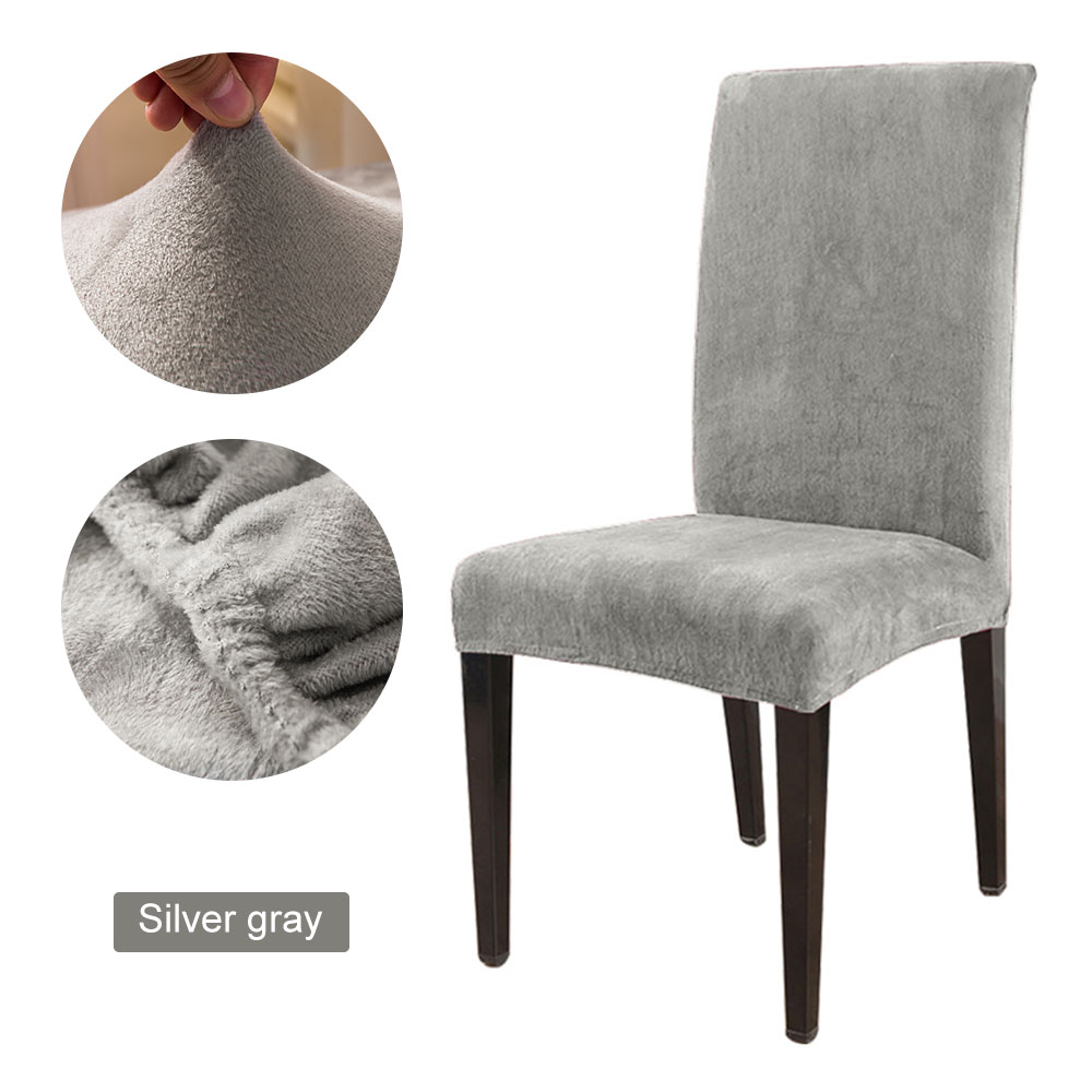 1 to 6 Pcs Removable Chair Cover Made with Stretchable Thick Plush Material for Banquet Chair 16