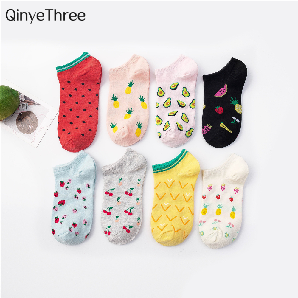 New Cute Art Fresh Happy Fruit Party Boat Socks Comfortable Strawberry Cherry Avocado Pineapple Watermelon Cotton Socks Dropship