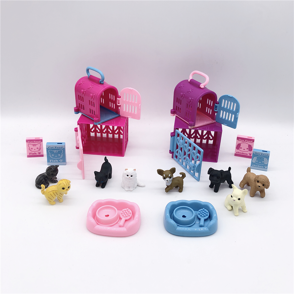 Barbies  Princess Doll Accessories Cute Cats And Dogs With Cat Cage + Dog Cage, Animal Simulation Model Interactive Plastic Toys