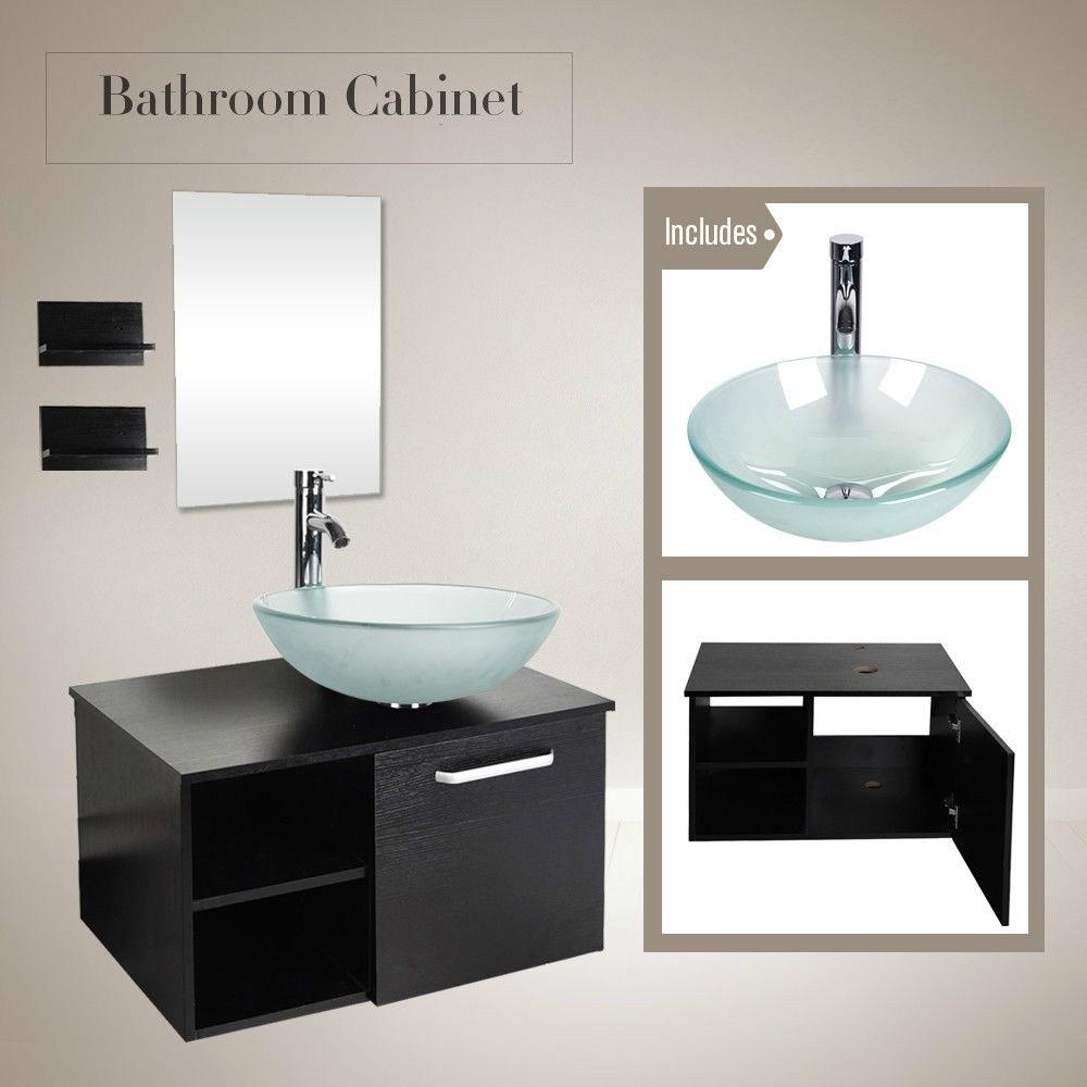 28 Bathroom Vanity Wall Mount Cabinet Floating Vessel Sink Faucet Mirror Combo Us Bathroom Vanities Aliexpress
