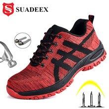 SUADEEX iş ayakkabısı erkek güvenlik ayakkabıları Unisex hava örgü iş çizmeleri erkekler Sneakers Anti smashing çelik ayak ayakkabı güvenlik botları erkek
